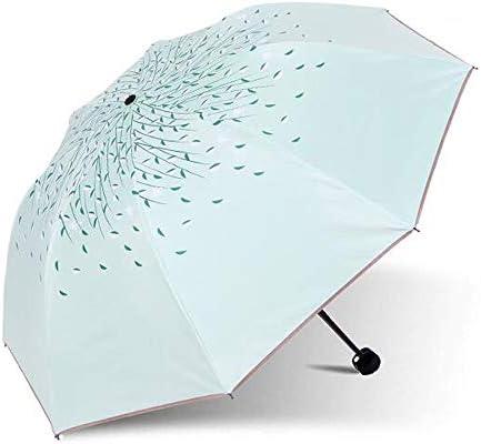 Green Tree Leaf Folding Travel Sun Umbrella Sunblock UV Protection UPF 50 Rain