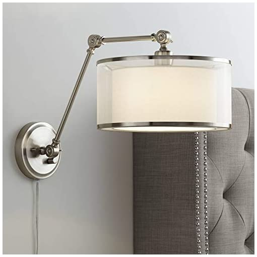 Interior Lighting Taliah Modern Swing Arm Wall Lamp Brushed Nickel Plug-in Light Fixture Organza Off White Fabric Drum Double Shade… modern wall sconces