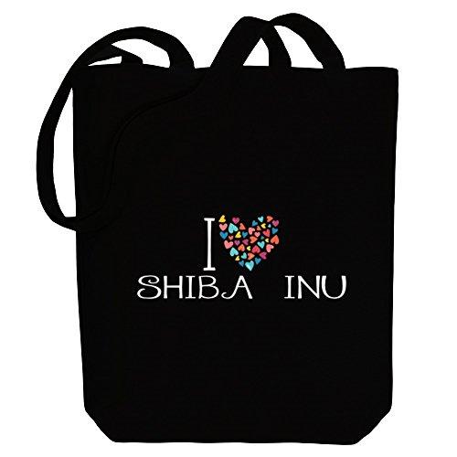 Love Colorful Canvas Dogs Tote Inu Bag I Hearts Shiba Idakoos FwIgT