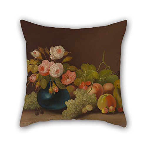 Throw Pillow Covers 18 X 18 Inches / 45 By 45 Cm(each Side) Nice Choice For Lover,wife,teens,home Office,relatives,couples Oil Painting William Buelow Gould - Cabbage Roses And Fruit