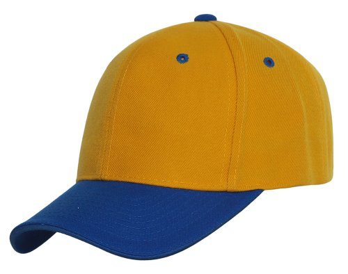 Two-Tone Low Profile Adjustable Baseball Cap, Yellow Blue