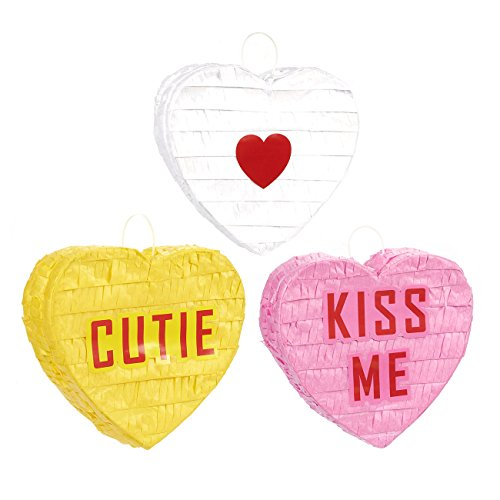 Juvale Blue Panda 3 Pack Mini Heart Pinatas - Valentine's Day Decorations Party Supplies - Conversation Heart Candy Designs, Birthday Parties, Fiesta Party Decorations 5.5 x 5.25 x 2 -