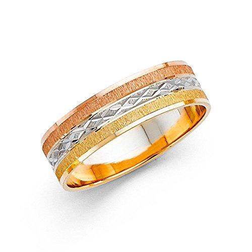 Solid 14k Yellow White Rose Gold Wedding Ring Band Diamond Cut Brushed Satin Finish Tri Tone 6 mm Size 8