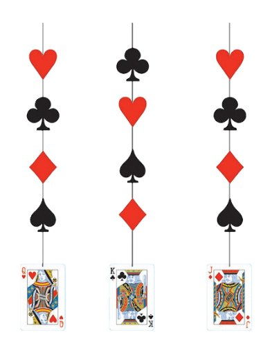 Creative Converting 3 Count Fancy Hanging Cutout Decorations, Card Night