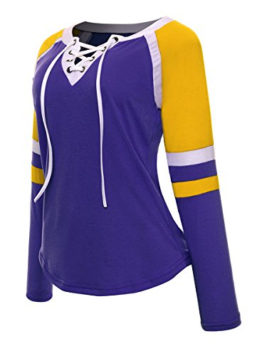 Avant Up Femmes O Lace Manches en Tops Longues Sport Air Color Plein Shirt Violet Chemises T Cou Blouse Casual Block Baseball Advocator OwPdvqq