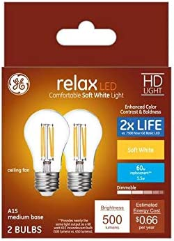 GE Relax 2-Pack 60 W Equivalent Dimmable Soft White A15 LED Fixture Light Bulbs Vintage Antique
