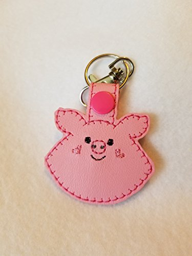 Pig Embroidered Key Chain ()