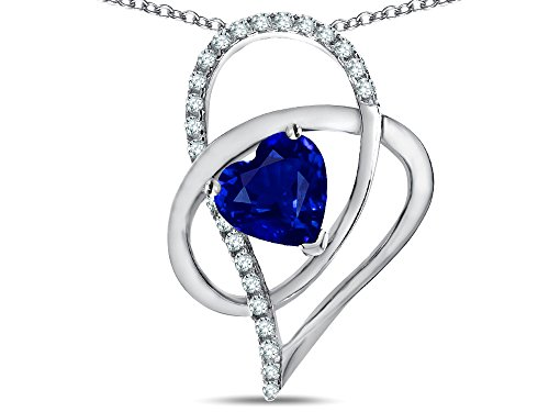 (Star K Heart Full Of Love Created Sapphire 7mm Heart Pendant Necklace Sterling Silver)