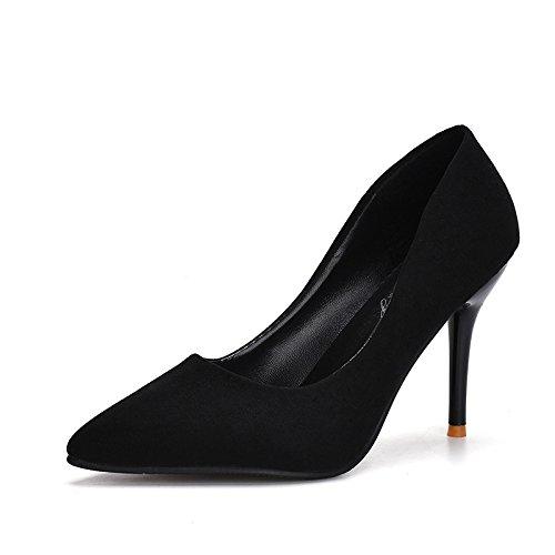 ZHZNVX La mujer zapato único punta los zapatos de tacón alto de satén versión coreana de mujeres ultra-alta-Ticketing rojo zapatos zapatos de boda black