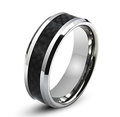 King Will 8mm Black Carbon Fiber Inlay Men's Tungsten Carbide Ring Wedding Band Polished Finish Comfort Fit