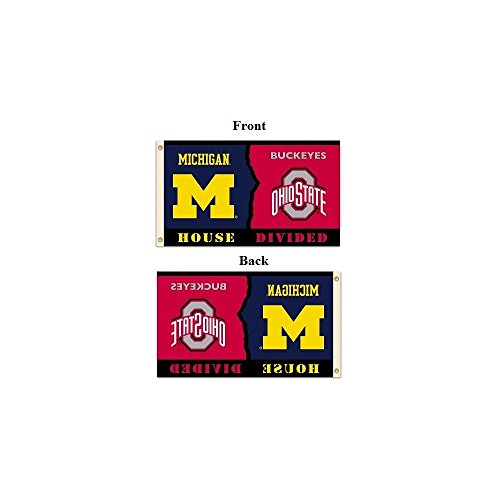 NCAA Michigan - Ohio State Rivarly House Divided Flag with Grommets