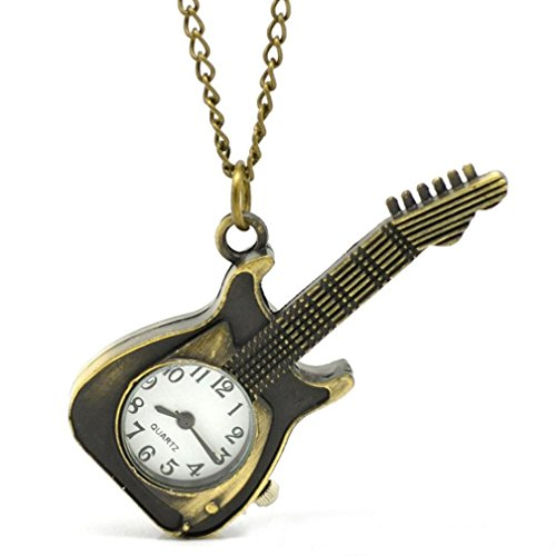 Geneve Gold Pocket Watch - Watch Chain;START Guitar Shape Women&Men Watches Pocket Watch