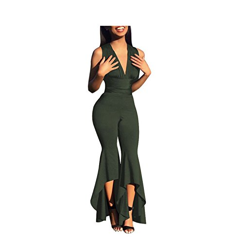 Wide Leg Bodycon Jumpsuit Deep-V Summer Full Bodysuit Bodies Woman Sexy Club Pa by Rainlife jumpsuits