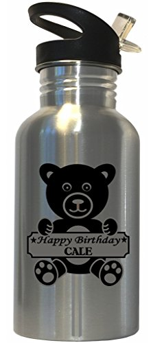 Happy Birthday Cale Stainless Steel Water Bottle Straw Top