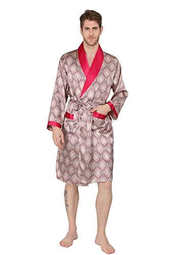 MAGE MALE Men's Summer Luxurious Kimono Soft Satin Robe Shorts Nightgown Long-Sleeve Pajamas Printed Bathrobes