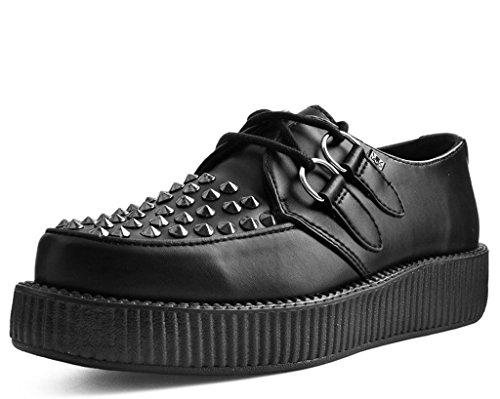 T.U.K. Tukskin Nero Shoes Gli Uomini con Borchie Creeper Suola Basso Nero