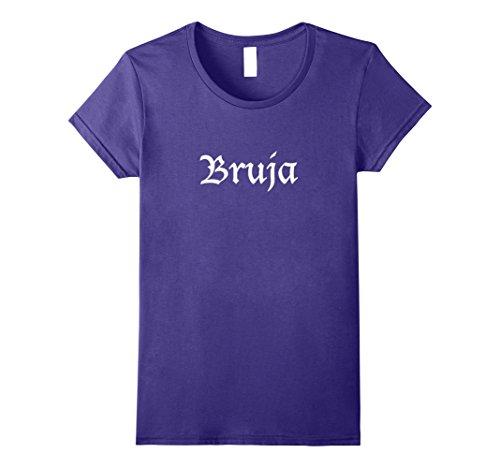 Halloween La Muerte Costume (Womens Women's Girls Spanish Witch Bruja T Shirt Halloween XL Purple)