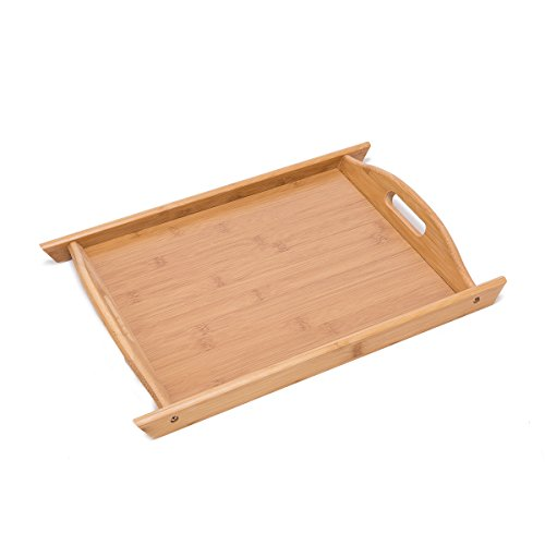 """THY COLLECTIBLES Bamboo Breakfast Tray Food Buller Serving Tray With Handles For Home Party Camping (Med 14.6"""" x 10.4"""")"""