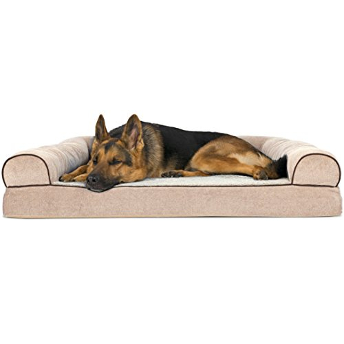 1 Piece Beige Extra Large 44 Inches Orthopedic Foam Sofa Style Comfort Pet Bed, Brown Couch Ortho Bolster Lounge Big Dog, Raised Sides Joints Support Removable Zip Cover Water-resistant, Polyester Dog Ortho Bolster