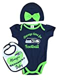 Infant Girls Seattle Seahawks Football Baby Outfit NFL Bodysuit Bib & Hat Set