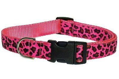 Details about Sassy Dog Wear 10-14-Inch Pink Leopard Dog Collar Small