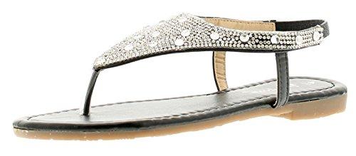 New Ladies/Womens Black Toe Post Sandals with Diamantes - Black - UK Sizes 3-8 hMUpLJj