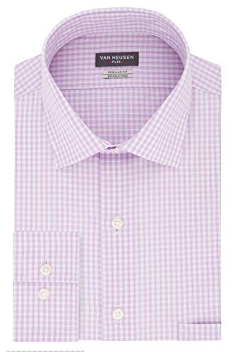 (Van Heusen Men's Dress Shirt Regular Fit Flex Collar Check, Soft Lilac, 17