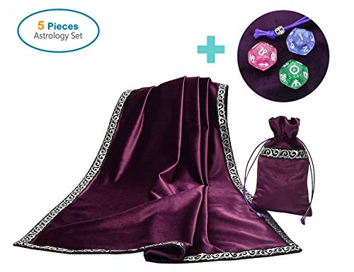 (Party Chili Altar Tarot Card Table Cloth with Tarot Pouch and 3 Astrology Dices Purple (25.5