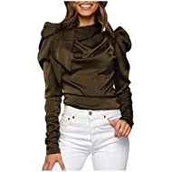 Gopeak Women Pleated Design Tops,Winter Warm O-Neck Long Sleeved Ruffle Bow Tie Top Casual Blouse Shirts