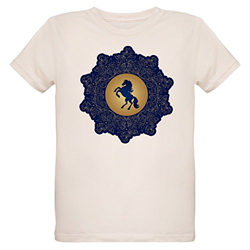 - Truly Teague Organic Kids T-Shirt Horse on Dark Blue Field - Large (12 Yrs)