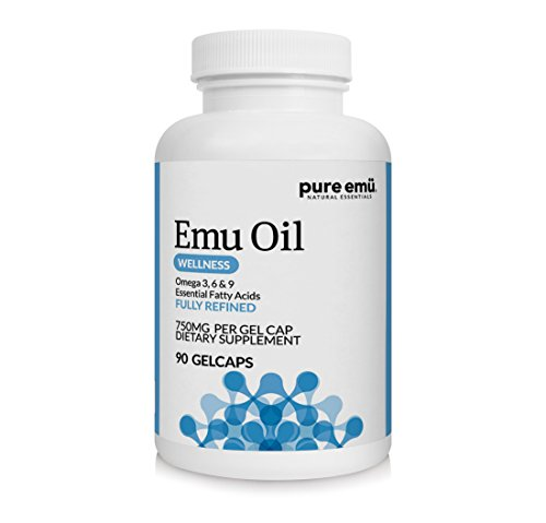 Pure Emu Emu Oil Gelcaps | Daily Wellness Supplement: Fully Refined Emu Oil | Natural, Safe & Hormone-Free | Omega 3, 6, 9 Essential Fatty Acids for Heart & Joint Health Support, 90 Ct
