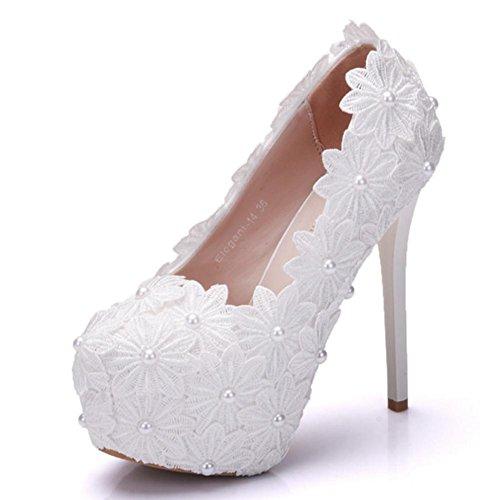 3 Imitación WHITE Noche Zapatos 40 Plataforma Corte Zapatos de Boda Dedo del Nupcial 35 EUR Paseo Blanco EUR35UK3 Zapatillas NVXIE 35 Tacón Tamaño Mujer pie Alto Diamante Cerrado UK pqTFxnHZw