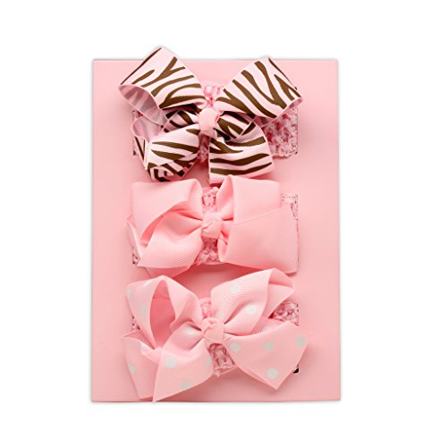 Chocolate Brown Grosgrain - Princess 3-Piece Gift Set with Pink and Chocolate Brown Headbands for Baby Girl