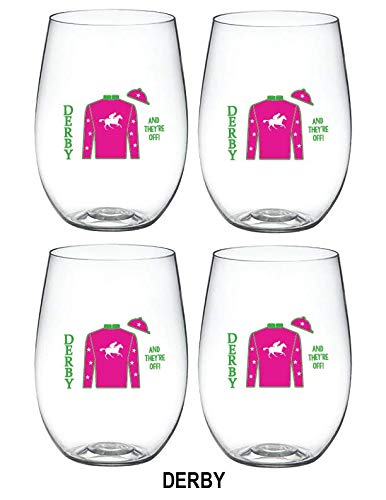4-pack Designer Shatterproof BPA Free Plastic 16 ounce Stemless Wine Glass (DERBY)
