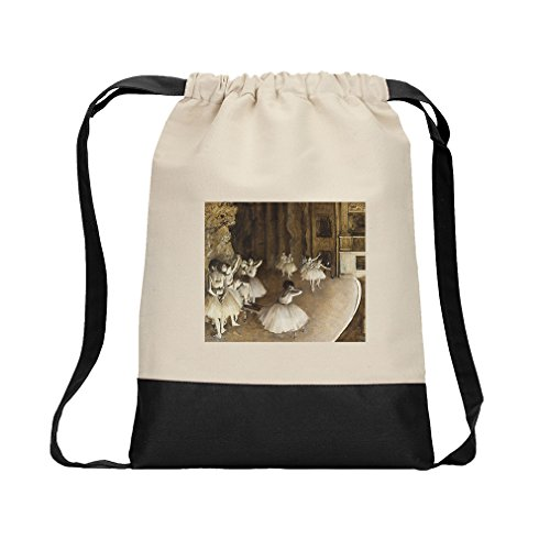 Ballet Rehearsal On Stage (Degas) Canvas Backpack Color Drawstring - Black
