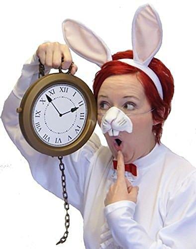 [Easter-World Book Day-Wonderland-Carroll-Animal-Farmyard-Peter RABBIT EARS, NOSE & CLOCK Fancy Dress] (Child White Rabbit Costume Alice In Wonderland)