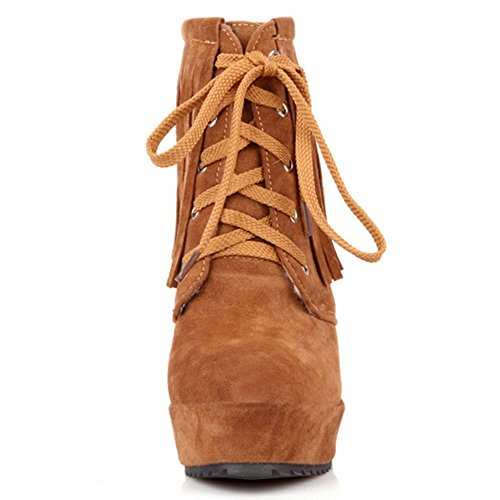 Up COOLCEPT Lace Women Yellow Boots xnAqA8XrBw