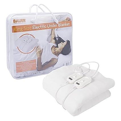 Bauer caliente suave manta bajera eléctrica diseño de amarre, King