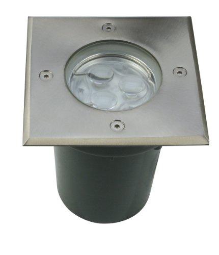 Bodeneinbaustrahler eckig Edelstahlring IP67 LED 3 Watt 230V - Vollmer