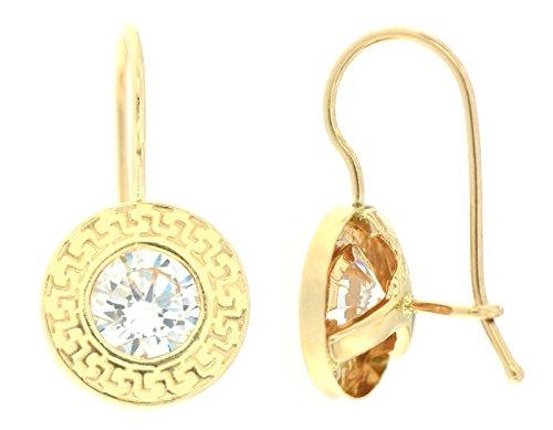 ERCE Design-Ohrringe rund mit Zirkonia, 14 Karat Gold 585, Größe 17 x 9 mm