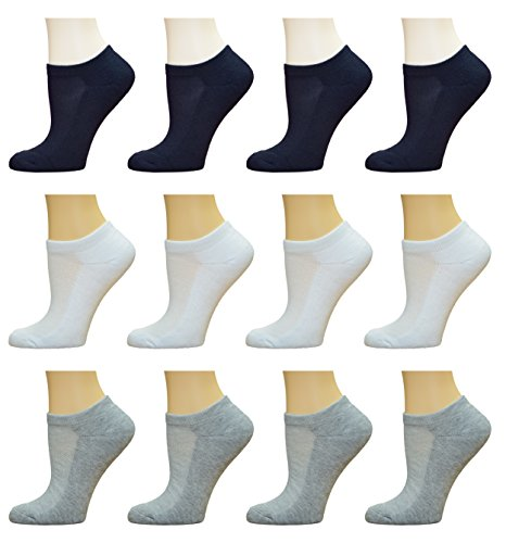 Top Step Women's No Show / Low Cut Performance Athletic Socks with Cushion Sole - 12 Pair