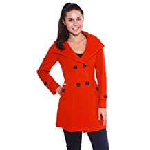 Simplicity® Women's Double-Breasted Wool Blends Coat High Collar Hoodie, RedL