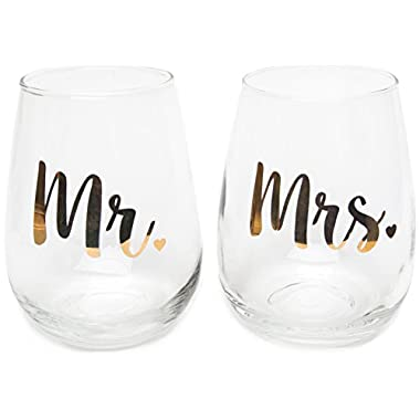 Wedding Gifts - Mr. and Mrs. Gold Lettering Novelty Wine Glass Set - Engagement Gift for Couples