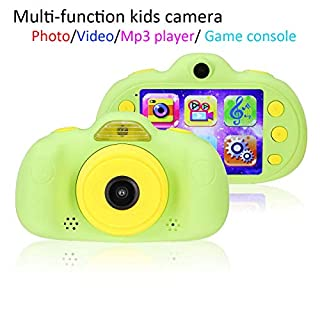 Multi-Functional Kids Camera with Playable Games, 2.4 Inch Display Children Digital Camera with MP3 Play, for Boys/Girls (Green)