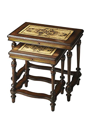 Butler Heritage Multi-Color Rectangular Etched Pastor Stone Top,Etched Brass Apron, Mahogany Wood Legs Gregorio Rectangular Stone Nesting Tables ()