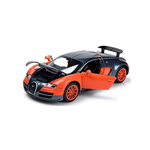 ZHMY 1:32 Bugatti Veyron Alloy Diecast car Model Collection Light&Sound (Orange)