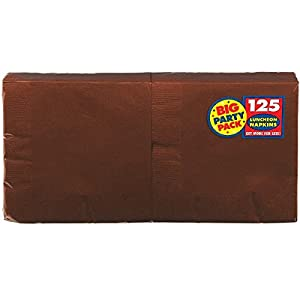 Amscan Big Party Pack 125 Count Luncheon Napkins, Chocolate Brown