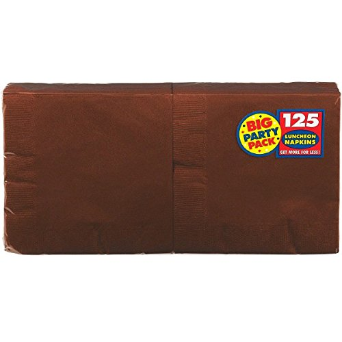 Amscan Big Party Pack 125 Count Luncheon Napkins, Chocolate
