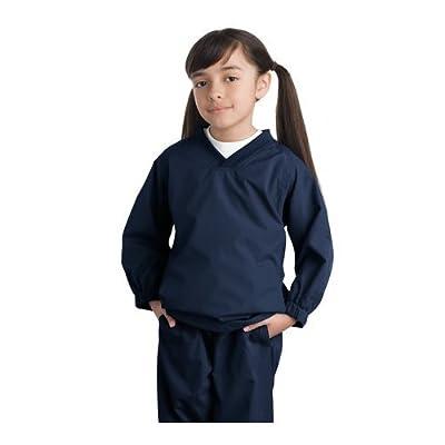 Sport-Tek Youth V-Neck Wind Shirt, S, True Navy