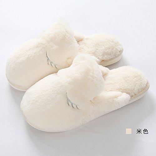 CWAIXXZZ pantoufles en peluche Piscine dhiver des couples accueil plush velours chaussons hommes et rester chaud épais adorable kids Chaussons en coton dhiver femelle ,41/42 (39-41 mètres), des homm